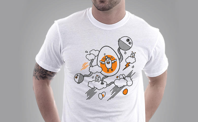Egg Tee White | Space Chicken
